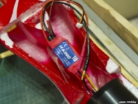 New esc connected to motor in red arrows hawk